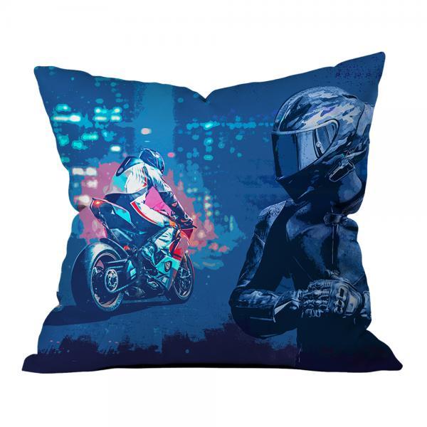 Mavi Motosiklet Yarışcısı Kırlent