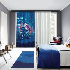 Blue Motor Racer One Piece Panel Curtain