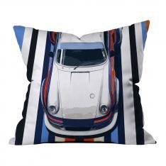Blue-Orange Race Car Pillow