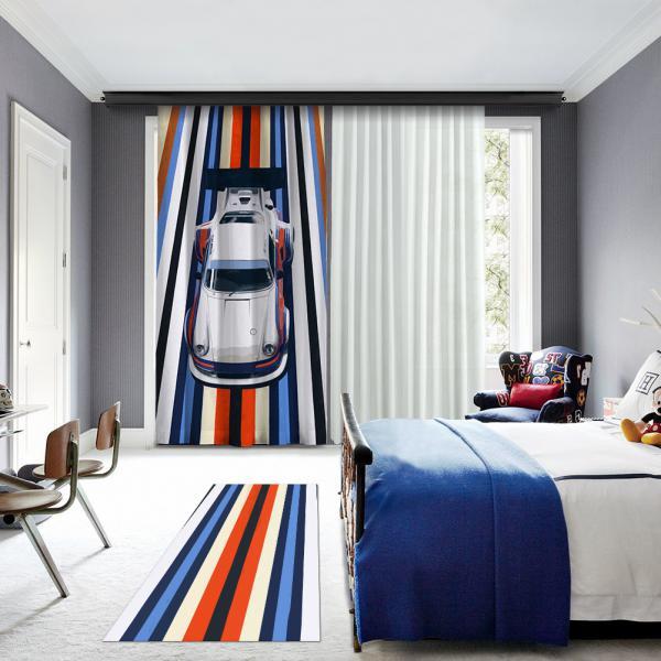 Mavi-Turuncu Yarış Arabası Tek Kanat Fon Perde
