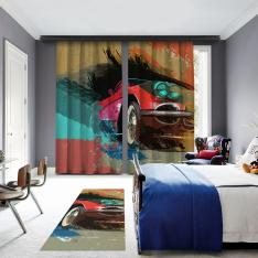 Nostalgic Car Illustrations 2 Panel Curtain