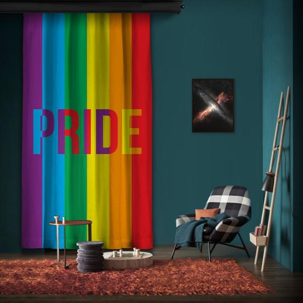 Pride Gökkuşağı Tek Kanat Fon Perde