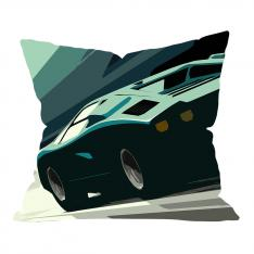 Green Car Illustrations Pillow