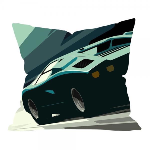 Yeşil Araba Illustrasyonu Kırlent