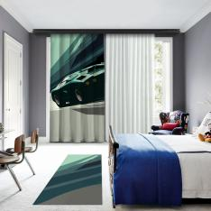 Green Car Illustrations One Piece Panel Curtain