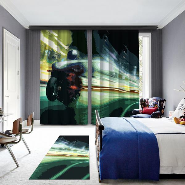 Yeşil Motosiklet Illustrasyonu Baskılı Halı