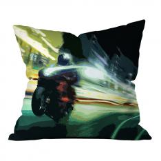 Green Motorcycle Illustrations Pillow