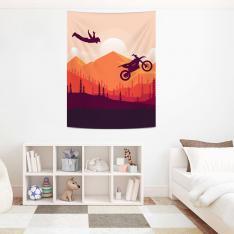 Artistik Motosiklet Atlayışı ve Manzara Duvar Örtüsü