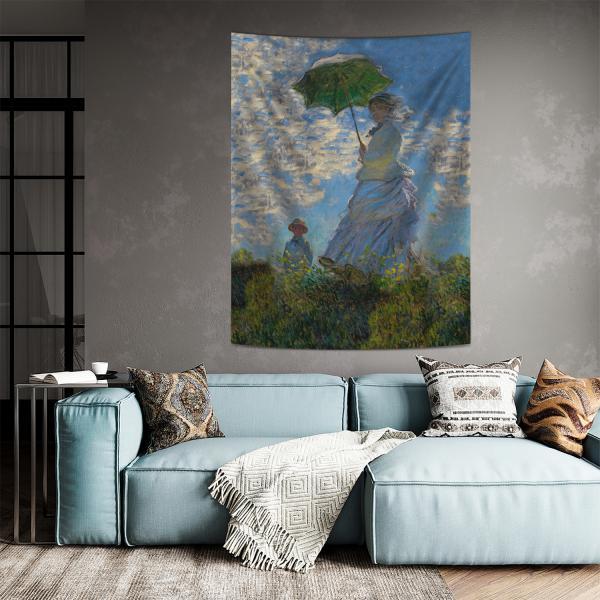 Claude Monet - Güneş Şemsiyeli Kadın Duvar Örtüsü