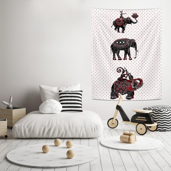 Etnik Filler İllüstrasyon Duvar Örtüsü