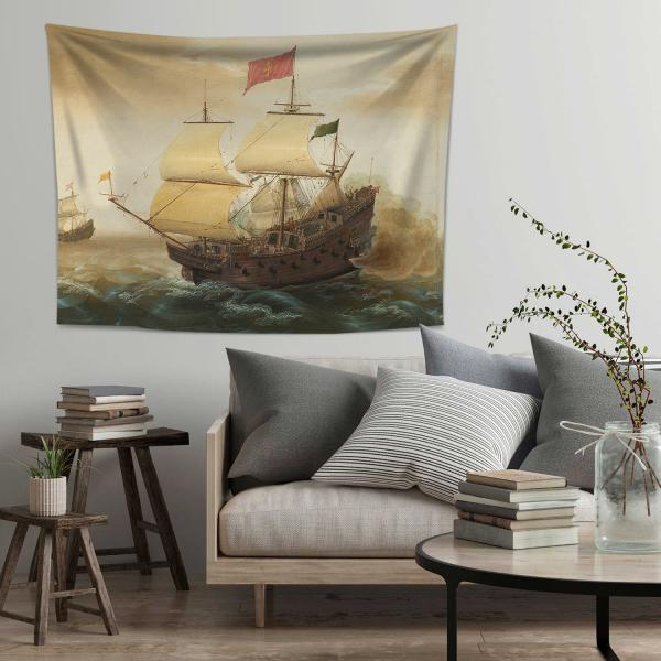 Hollanda ve İspanyol Savaş Gemileri Duvar Örtüsü