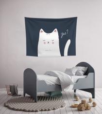 Illusration White Cat ''YES''Crispy Flowers Wall Spread