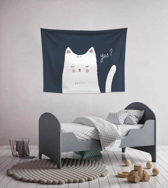 İllüstrasyon Beyaz Kedi Duvar Örtüsü