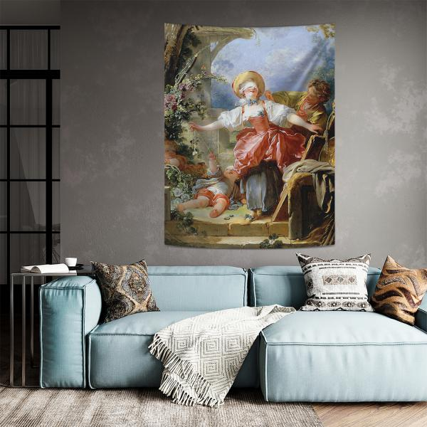 Jean-Honore Fragonard - Kör Adamın Blöf Oyunu Duvar Örtüsü