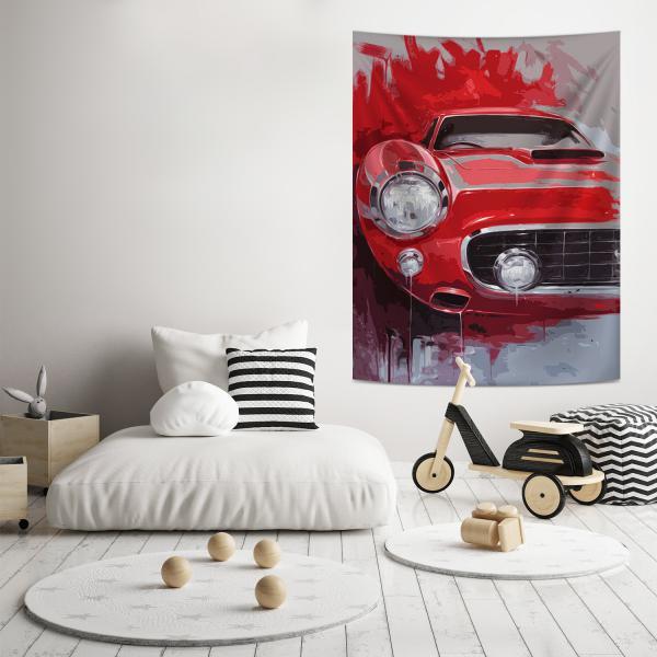 Kırmızı Klasik Araba Illustrasyonu Duvar Örtüsü