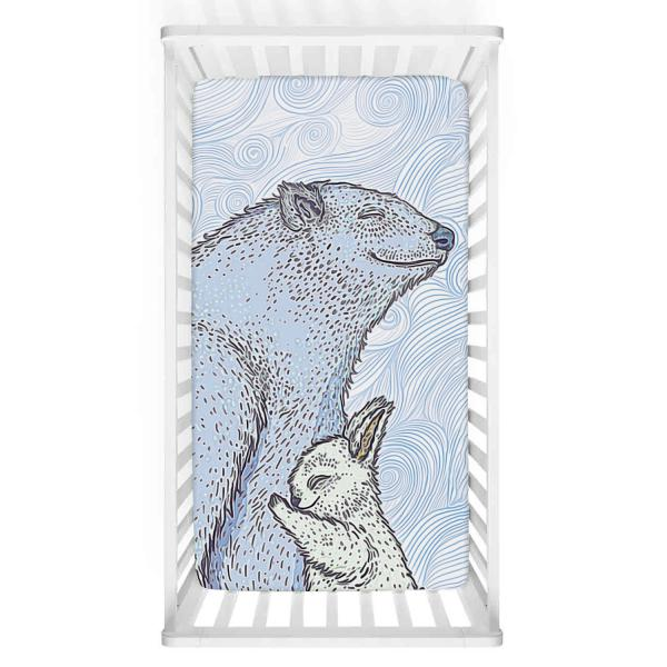 Mavi Ayı İle Tavşan Burcu Bebek Yatak Örtüsü