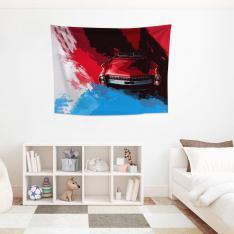 Mavi-Kırmızı Klasik Araba Duvar Örtüsü
