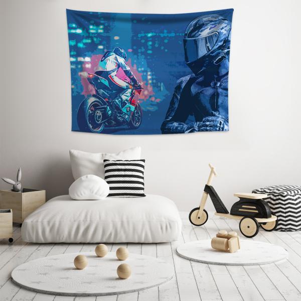 Mavi Motosiklet Yarışcısı Duvar Örtüsü