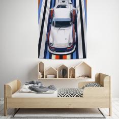 Mavi-Turuncu Yarış Arabası Duvar Örtüsü