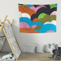 Renkli Bulutlar Duvar Örtüsü