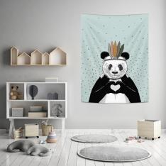 Romantik Panda Mavi Duvar Örtüsü
