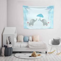 Şemsiyeli Filler Duvar Örtüsü