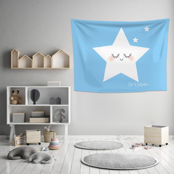 Sevimli Uyuyan Yıldız Mavi Duvar Örtüsü