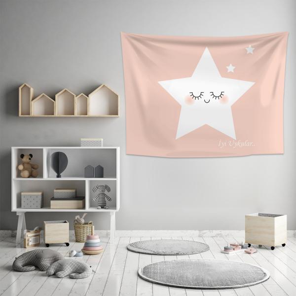 Sevimli Uyuyan Yıldızlar Pembe Duvar Örtüsü