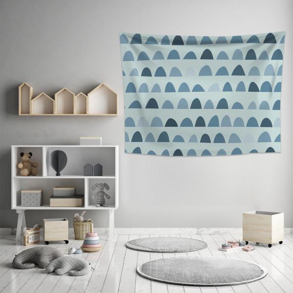 Soft Desenli Mavi Duvar Örtüsü