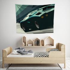 Yeşil Araba Illustrasyonu Duvar Örtüsü