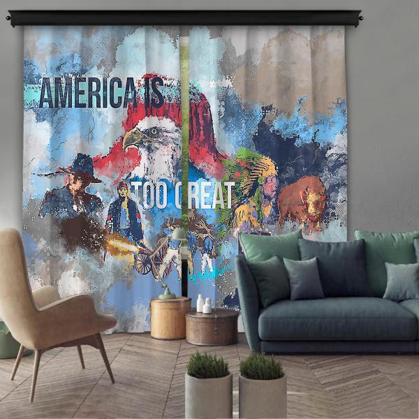 Amerikan Rüyası Çift Kanat Fon Perde