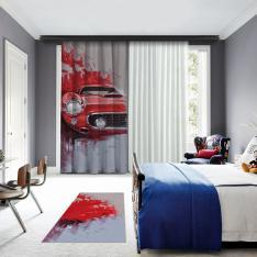 Kırmızı Klasik Araba Illustrasyonu Tek Kanat BlackOut Perde