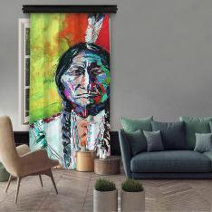 Native American Painting Single Panel Curtain