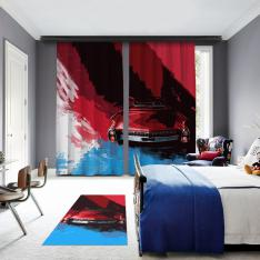 Blue-Red Classic Car 2 Panel Blackout Curtain