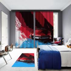 Mavi-Kırmızı Klasik Araba 2 Kanat BlackOut Perde