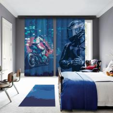 Blue Motor Racer 2 Panel Blackout Curtain