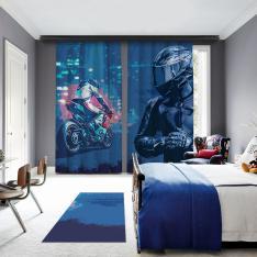 Mavi Motosiklet Yarışcısı 2 Kanat BlackOut Perde