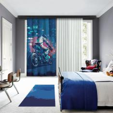 Blue Motor Racer One Piece Blackout Curtain