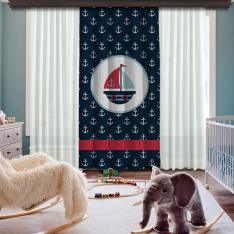 Blue Boat One Piece Blackout Curtain