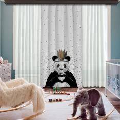 Romantik Panda Gri Tek Kanat BlackOut Perde