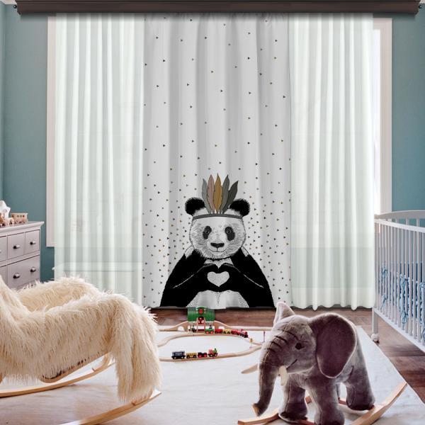 Romantic Panda Grey One Piece Blackout Curtain