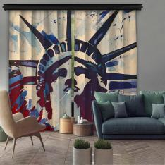 Sanatsal Özgürlük Heykeli Çift Kanat Fon Perde