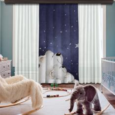 Cute Polar Bears Single Piece Blackout Curtain