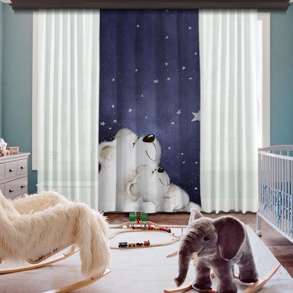 Cute Polar Bears Single Piece Blackout Curtain
