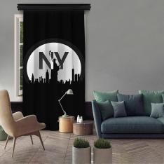 Black-White NY Single Panel Curtain