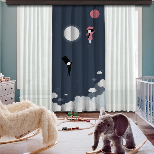 Flying Baloons Single Piece Blackout Curtain