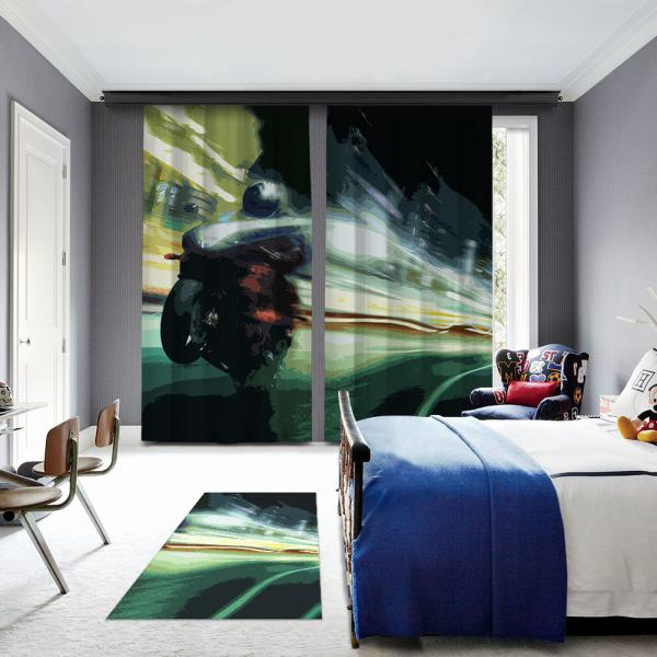Green Motorcycle Illustrations 2 Pane Blackout Curtain