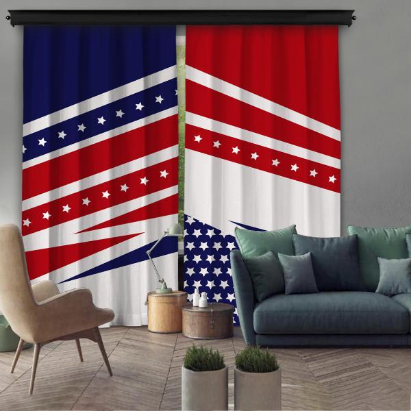 Amerika Bayrağı Çift Kanat Fon Perde