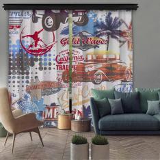 California Collage 2 Piece Panel Curtain