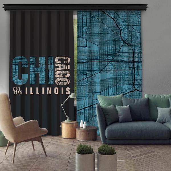 Chicago-Illinois Çift Kanat Fon Perde